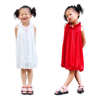 Wholesale girls apparel 2014 christmas party top quality chiffon kid party dress 3~10age red/white 7pcs/lot  children clothing