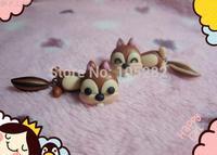 2014!Mini order$25 women'DIY Polymer clay silver Earrings Jewelry brown ladies girl'cartoon Squirrel 925 sterling Earring gift