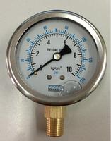 """Glycerine filled Stainless Steel Manometer Pressure Gauge Meter 1/4""""BSPT 60mm Dia 0-10kg/cm2 (0-140PSI)"""