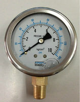 "Glycerine filled Stainless Steel Manometer Pressure Gauge Meter 1/4""BSPT 60mm Dia 0-10kg/cm2 (0-140PSI)"
