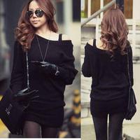 Casual Women Knitting Knitwear Jumpers Mini Dress Sweater Long Tops Batty Sleeve #L034952