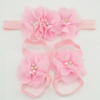 MOQ 1set Pink new baby triple chiffon Flower headband+sandals Barefoot Blooms Sandals kid Infant hair accessories+Footwear