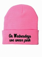 2014 new Beanie on wednesdays we wear pink hat ,wool winter knitted caps and hats for man and women