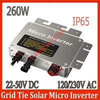 IP65 260W MPPT Grid Tie Micro Inverter 22-50V DC Solar grid tie micro inverter with power  line carrier-current communication