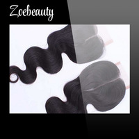 "Free shipping 5A grade 100% virgin Brazilian hair lace closure (4""X4"") with center part  body wave with bleached knots\"