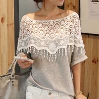 2015 Summer Sweet Lace Hollow Out T-shirt Women Crochet Cape Collar Batwing Sleeve Roupas Femininas Tops T Shirt Feminina 6306