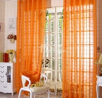 """Sheer Voile curtain Tab Top panel  Slot Top Voiles plain voile curtain  orange curtain panel W55""""*L96"""" Free shipping!"""