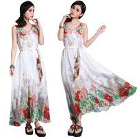 2014 spring and summer national trend jonadab beach super large full dress sleeveless V-neck chiffon summer one-piece dress