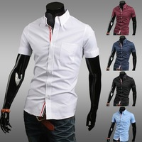 Hot selling 2014 new fashion ribbon decoration cotton leisure men's cultivate one's morality short sleeve shirt Free shipping