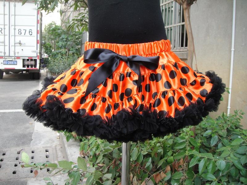 New girls pettiskirts 2014 summer fashion orange polka dot bowknot tutu skirts princess skirt dancewear party skirt kids clothes(China (Mainland))
