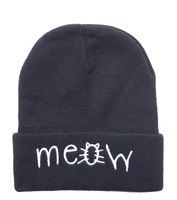 2 new styles meow Beanie hats Black grey solid high quality mens or women winter knitted most popular sports caps Free shipping