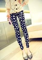 P358 New 2014 Fashion Stars Pattern Print Women's Skinny Leggings Autumn Doodle Black Trousers Pencil Pants Free Shipping