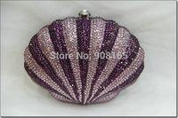 free shipping new 2014 Shell shape  women clutch handbags crystal women bags chain women wallets B0605