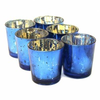 HOT! Buy 2 lots 15% diacount!!  2.5inch tall mercury cobalt  votive candle holder USD49.92 for 24pcs/each USD2.08