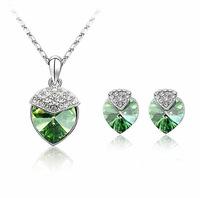 Austrian Crystal Jewelry Women's Jewelry Sets Silver Earrings Hearted-shaped Necklace & Pendants Fashion Stud Earrings ML-715