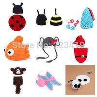 New 2014 Wholesale Factory Princess baby Animal Costume Set handmade Children Knit crochet photography props hats Newborn