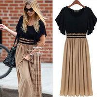 New Fashion 2014 summer Bohemian Women dress High Waist Ruffle Sleeve Sexy party dress Long Chiffon Maxi casual Dress Plus Size