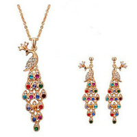 Retro Women Jewelry Sets Crystal Necklace Peacock Earrings Multicolor Jewelry Sets Vintage Earrings & Necklace ML-442-3