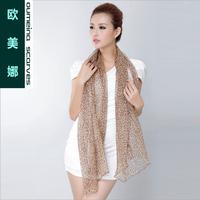 Oumeina Fashion and Muslim Women's silk long scarf  Gold Metallic thread weaved plus leopard printed  170CMx68CM  LJD-S052