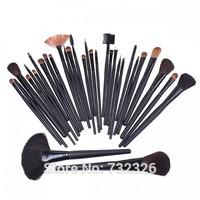 Brand New Beauty 32Pcs Cosmetic Facial Makeup Set Brush 32 Pcs Make Up Set Brush Tool + Black Leacher Case Free Shipping