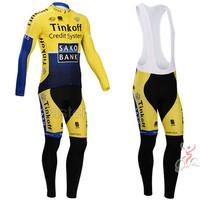 New 2014 Tinkoff Saxo Bank Cycling Jersey / Cycling Shorts / Cycling Bib Tights / Long Sleeve Cycling Clothing Free Shipping