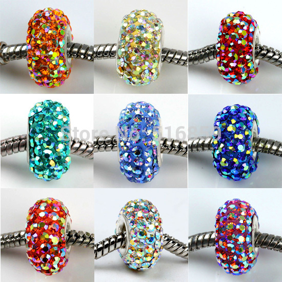 Wholesale New 14x8mm Solid AB Czech Crystal 925 Sterling Silver Core Loose European Charm Round Beads
