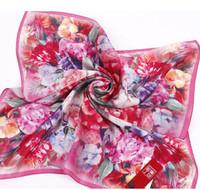Oumeina Women's silk square scarf China origin new design computer spray with digital flower printed  55cmx55cm  LJD-S054
