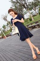 2014 summer new Korean Women Slim Short-Sleeved Dress was Thin  Chiffon Flounced Dress.