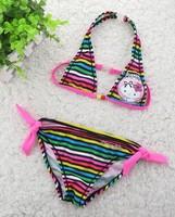 Free shipping 2014 New Charming Kitty Kid Girls Swimwear Childrens 2 pieces Bikini Swimsuit Hot sale Beach wear for kids
