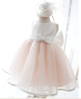 Newest Little Baby Girl Lace Bowtie Communion Dress Kids Prom Dresses Princess Ball Gown Wedding Party Dress Free Drop Shipping