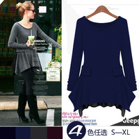 New 2014 Freeshipping Natural Chiffon Mid-calf Asymmetrical O-neck Full None Solid Color Long-sleeved Knit Dress 1127