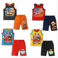 New 2014 Baby & Kids Summer Casual Boys Anpanman Shorts And Vest 2pcs Sets Free Shipping