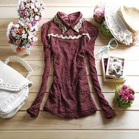 Free shipping women's vintage turn-down collar long-sleeve lace basic shirt women's gauze double layer lace shirt top