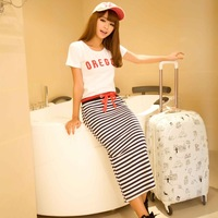 New 2014  Summer Top Fasion Freeshipping Natural Chiffon Straight O-neck Sweet Striped Navy Style Two-piece Casual Dress 1106