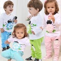 New 2014 Clothing Set Baby & Kids Boys And Girls Spring Ladybug Long-sleeved T-shirt Pants 2pcs Sets Free Shipping
