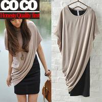Free shipping ! 2014 spring summer womens weet casual medium-long twinset t-shirt patchwork dress A028