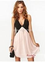Free Shipping Women Chiffon Dress, Hit Color Stitching Back Hollow Deep V-neck  Sleeveless Chiffon Vest Dress  S,M,L,XL