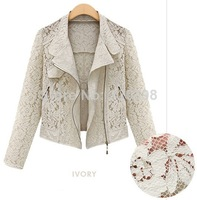 DB 2014 new European and American women's lace hollow small shawl cardigan jacket was thin wild woman Long Sleeve Jacket
