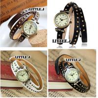 Vintage Leather Bracelet Antique Style Charm Stud Analog Quartz WristWatch