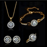 Hot Sale New Coming Zircon Crystal Jewelry Set Necklace/Bracelet/Earrings/Ring Bridal Jewelry Set