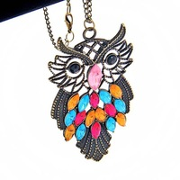 New jewelry Fashion Crystal Owl Retro long Pendant sweater Chain Necklace #5666
