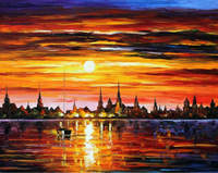 100% Hand-painted Quality Palette Knife canvas recreation oil painting -  SUNSET IN BARCELONA