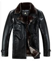 2014 New Winter Long Stylish Men's Genuine Sheepskin Leather Jacket Down Coat With Detachable Mink Fur Collar,