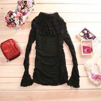 Free shipping women's cutout lace shirt top basic shirt long-sleeve stand collar three-dimensional rose basic shirt