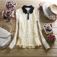 Free shipping 2014 new  women's turn-down collar chiffon shirt patchwork back cutout lace