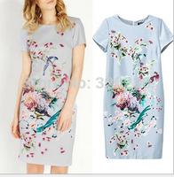 Free shipping !  2014 Girls Women's  O-neck Bird & Flower Pattern cheongsam  Dress ladies fashion dress evening dress