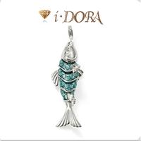 2014 Hot sell diy ts fashion charms bracelet alloys silver plated enamel jewelry pendant fish TS8331 blue