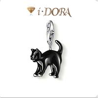 2014 Hot sell diy ts fashion charms bracelet alloys silver plated enamel jewelry pendant cat TS8533 black