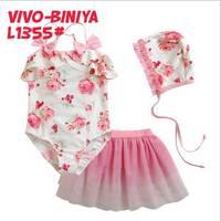 3pcs baby girls Swimwear kids girls bathing suit hat+Swimsuit+skirt flower