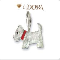 2014 Hot sell diy ts fashion charms bracelet alloys silver plated enamel jewelry pendant Pekingese TS8059 white